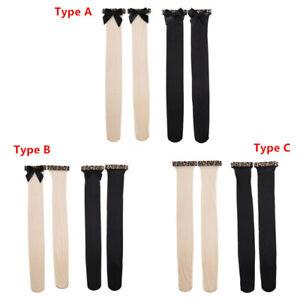"1 Pair Women Breathable Nylon Mesh Thigh Band Leopard Bowknot Long Stockings 30"""