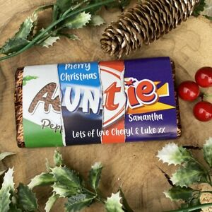 Personalised Christmas Auntie Chocolate Bar, Gift for Auntie