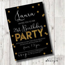 Adults/Kids Personalised Birthday Party Invitations, Black and Gold Glitter x 24