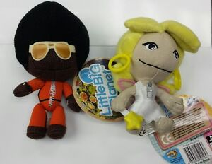 2 Little Big Planet Plush Keychain Marvin/Afro Sackboy & Angelica Fairy Plush PS