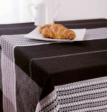 Belmore Black Tablecloth Size 150 x 260cm - 100% Cotton 8 - 10 Seater by Ladelle