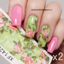 2 Sheets Water Decal Nail Transfer Sticker Green Pink Lotus Manicure Tips XF1420