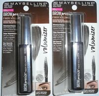 2 Pack - MAYBELLINE BROW PRECISE FIBER VOLUMIZER MASCARA #260 DEEP BROWN 0.27 OZ