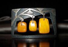 Modernist Russian 875 Silver 3 Nugget Baltic Butterscotch Egg Yolk Amber Pin