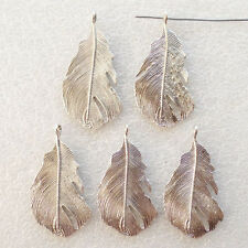 10Pcs Gorgeous Carved Tibetan Silver Palm Leaf Fan Pendant Bead T3843 (YC-36985)