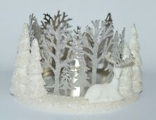 BATH & BODY WORKS SPARKLY WINTER DEER FOREST CERAMIC LARGE 3 WICK CANDLE HOLDER