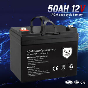 MOBI 50AH AGM Battery Deep Cycle Mobility Scooter Golf Cart Camping 12V