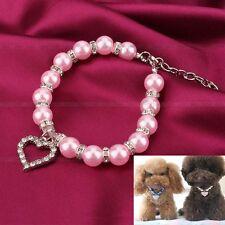Collar colgante de perro gato mascota Perlas de cristal de diamante de imitacion