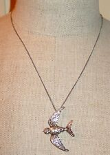 NWT Retired Vintage Fossil Brand Glitz Bird in Flight Necklace Silver tone RARE