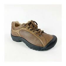 Keen Presidio Womens 6.5/37 Leather Walking Hiking Shoes Sneakers Lace Up Brown