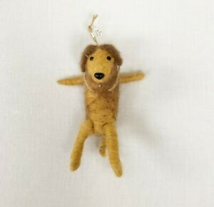 WOOL ORNAMENT Happy Dog Hanging Brown Tan Moveable Limbs/Tail