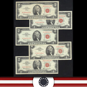 LOT OF (5) 1963 $2 Legal Tender RED SEAL BILLS UNITED STATES NOTE  24519A