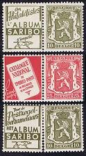 3 BELGIUM MINT STAMP PAIRS with ADVERTISING 2 x SARIBO & RED CATALOGUE NATIONAL