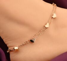 Charm Anklet Foot Ankle Chain Bracelet New Rose Gold Stainless Steel Heart