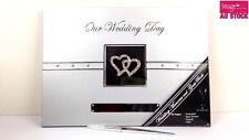 Our Wedding Day & Guest Book Diamante Hearts w/ Stylish Silver Pen GKIMTDW-GS