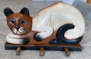 """Katzen Garderobe Hakenleiste Holz geschnitzt Handarbeit """"Katze"""" Siamkatze 36cm"""