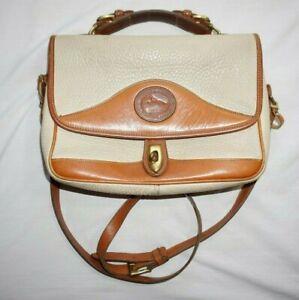 Vintage Ivory DOONEY & BOURKE Crossbody carrier bag Mini Briefcase AWL Purse!