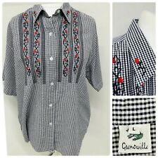 Grenouille Navy Blue White Gingham Check Shirt Blouse Embroidered Country Large
