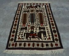 H280 Vintage Afghan Decor Wall Hanging Adam Pictorial Hunting Rug 3'10 x 6'3 Ft