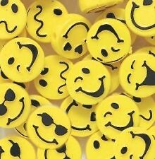 10 Expressions Disc Round Plastic Beads 13mm Yellow Smile Cool Hip Fun!