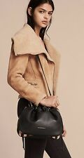 NEW BURBERRY GRAINY LEATHER AND HOUSE CHECK CROSSBODY BAG, BLACK 2017 COLLECTION