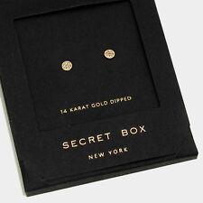 Crystal Earrings Tiny Secret Gift Box 14K GOLD DIPPED Small Stud Classic Elegant