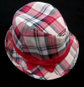Gymboree New York Girl Fedora Hat 5-6-7 Plaid White Blue Pink Red Bow