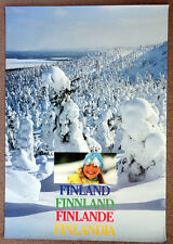 1990 Vintage FINLAND Snow Ski Snowboard TRAVEL POSTER Advertising Art Print