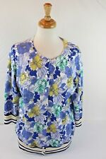 Talbots Women's Cardigan Sweater 3/4 Sleeve Button Down Floral Print Size X
