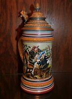 'Toasting Knights'  A Great 1/2 Liter Stein !!! (Mettlach Era)