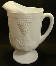 """Vintage Large Milk Glass Pitcher Embossed Grapes & Leaves 10.5"""" x 6"""" Excellent"""