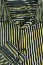 Equilibrio Italia Men's Black Gold & Blue Striped Cotton Casual Shirt XXL 2XL