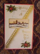 Vintage Postcard Wishing You A Happy New Year, Winter Scene And Holly