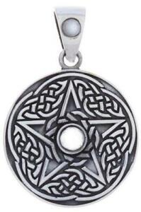 Pentacle and Celtic Knot Pendant with Rainbow Moonstone Center!