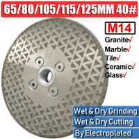 "5"" 125mm Diamond Cutting Grinding Disc Wheel M14 Flange Blade for Granite Marble"