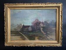 Künstler Gemälde Landschaft mit Häusern 19Jhd.