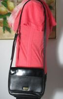 Crazy Horse Liz Claiborne Black Smooth Simulated Leather Shoulder Bag Handbag
