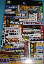 NEW 114 pc TRAVEL WORD FETTI Words Phrases Getaway Trip MAKING MEMORIES Stickers