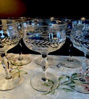Vintage SET 6 Champagne/Sherbet Cut Crystal GLASSES Laurel Leaf cut design 6 Oz
