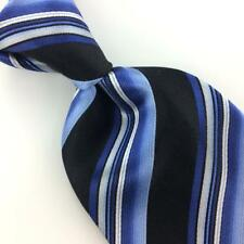 GEOFFREY BEENE Tie Thick STRIPED BLUE BLACK Woven Silk Necktie I7-50 Excellent