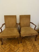 More details for vintage pair of beauitiful upholstered chairs armchairs