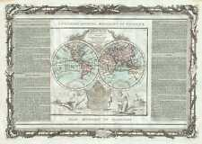 1786 Desnos and de la Tour Map of the World in Hemishperes