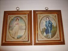 Antique Turner Wall Accessory Blue Boy & Pinkie Litho 3D Style Glass Frame TMC