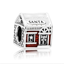 Nice Red Santa's home Spacer Enamel Glamour Bead Fit 925 Silver Charms Bracelet