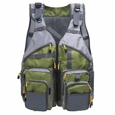 Hot Fly Fishing Mesh Vest Jacket General Size Adjustable Mutil-Pocket Outdoor US