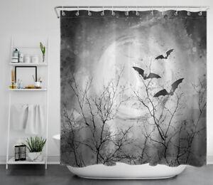 "Abstract Halloween Moon Bats Flock Gray Waterproof Fabric Shower Curtain Set 72"""