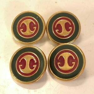 Gucci set of 4 Vintage Red Green Enamel Buttons