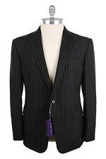 Ralph Lauren Purple Label 44US/54EU Linen & Wool Two Button Suit Black Pin Strip