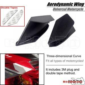 Pair Black Motorcycle Winglet Aerodynamic Wing For Yamaha Honda SUZUKI KAWASAKI