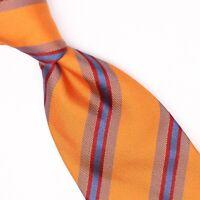 McNeal Clothing Mens Silk Necktie Orange Brown Blue Red Stripe Weave Woven Tie